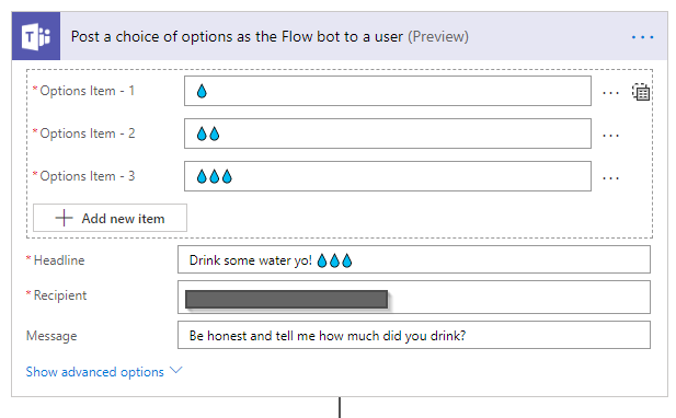 Stay hydrated 💧💧💧 using Microsoft Teams, Flow and PowerBI
